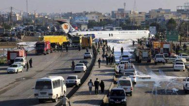 Photo of 2 injured after Iran passenger plane crash-lands on runway, skids onto highway