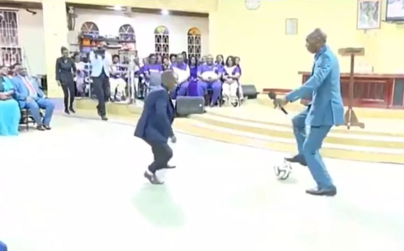 Photo of Video: Pastor performs deliverance on church members with football