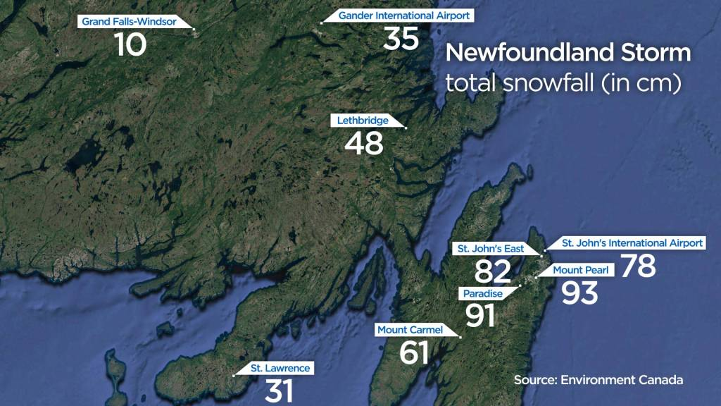 Photo of Highest snowfall observed in N.L. storm was 93 cm: Environment Canada