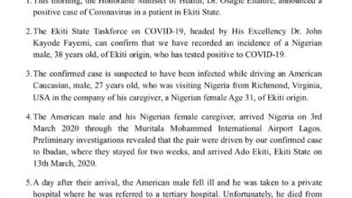 Photo of Corona virus: Ekiti State confirms first case