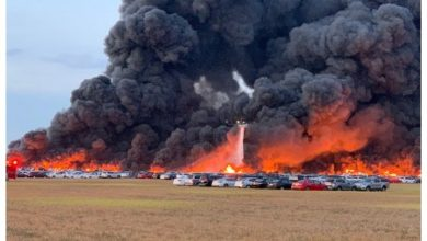 Photo of Fire torches 3,500 rental cars left unused due to coronavirus at Florida airport
