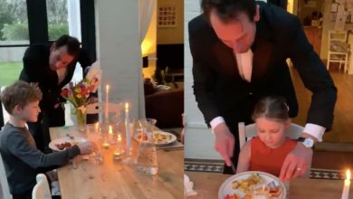 Photo of Tuxedo-clad dad arranges fancy dinner party for kids during coronavirus isolation