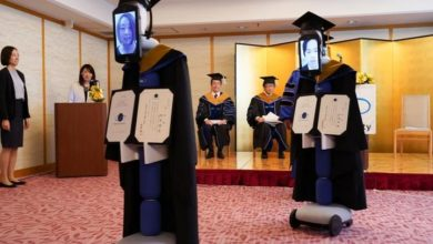 Photo of Japanese students virtually graduate thanks to iPads connected to robots