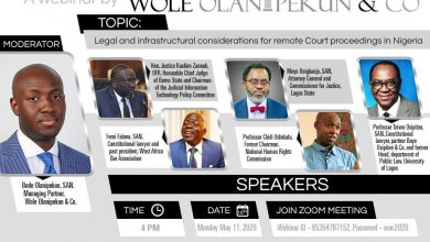 Photo of CJN, Appeal Court President, other Legal Industry Players to attend Webinar organized by Wole Olanipekun & Co