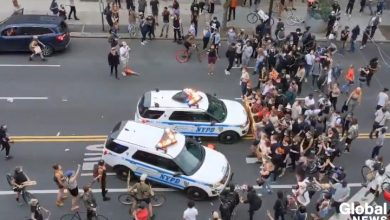 Photo of Video shows NYPD vehicles drive into people protesting George Floyd's death