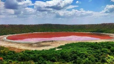 Photo of 'From green to pink': Crater lake makes dramatic colour change in India